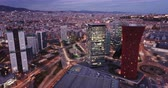 wijk : Picturesque view from drone of night Barcelona. Illuminated major business district with modern skyscrapers