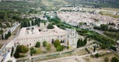 world locations : Aerial view of Castle of Abbey Sainte-Marie dOrbieu, part of history of Lagrasse, France