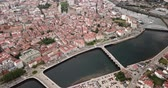 czerwiec : Panoramic view from drone on the city center Pontevedra with embankment of the river Rio Lerez. Galicia. Spain