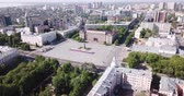 world locations : View from drone of  center of Voronezh with Lenin Square and panel buildings, Russia Stock Footage