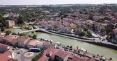 juni : Panoramic view from the drone on the city Condom. France Stockvideo