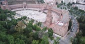 Plaza de Espana at Sevilla with park, view from drone, Andalusia, Spain 影像素材