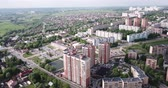 Scenic view from drone of modern cityscape of Russian city of Chekhov 影像素材