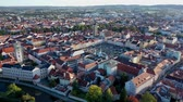 Panoramic view of historical center of Ceske Budejovice, Czech Republic