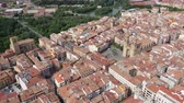 View from drone of  Logrono city, with landscape and  buildings, Spain