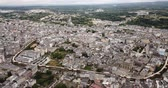 world locations : Aerial  view of  Lugo district with buildings and landscape, Galicia Stock Footage