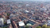 View from drone of Italian city of Padua overlooking large roof of Palazzo della Ragione, Veneto