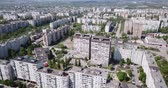 Panoramic view from drone of the residential district of city Old Oskol. Russia