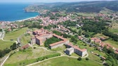 一般 : Aerial view of  old Cantabria  University Center CIESE with landscape and  town, Comillas, Spain