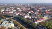mimari : Scenic aerial view of Hradec Kralove cityscape on banks of Elbe river on sunny autumn day, Czech Republic Stok Video