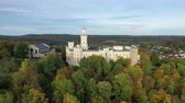 kulturní : View from drone of medieval castle in Hluboka nad Vltavou, Czech Republic