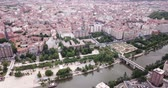 apartment buildings : Panoramic aerial view of  district of Valladolid with modern apartment buildings and river