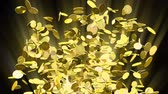 kereskedés : An explosion of gold coins erupting in all directions and falling off screen