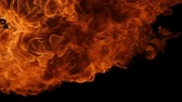 sfavillio : Slow motion of fire blasts isolated on black background.