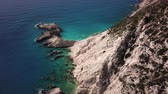 vysoký úhel : Aerial view of reef with sandy beach, Kefalonia, Greece. Summer relaxation and nature motive Dostupné videozáznamy