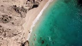 vysoký úhel : Aerial view of Myrtos sandy beach, Kefalonia, Greece. One of the most beautiful beach in the World. Summer relaxation and nature motive