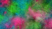 Super slow motion of colored powder explosion. Filmed on high speed cinema camera, 1000fps. Stok Video