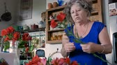 wazon : An Israeli woman in her 60s arranges fresh cut red lily flowers in a vase in her modern kitchen in warm weather - dolly shot