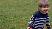 роль : Portrait of a happy smiling young toddler girl walking outside in the grass in slow motion Стоковые видеозаписи