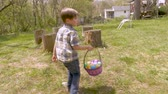 concentrando : Young 4 - 5 year old cute boy concentrating on finding easter eggs while walking in a yard in slow motion
