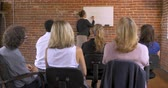 apresentador : Motivational speaker businesswoman getting audience feedback participation at a training seminar or business brainstorming sessions while writing on a white board