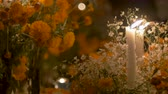 White candles burning at night next to marigold flowers during day of the dead in Mexico - dolly shot Stock mozgókép