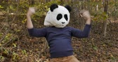 панда : Man wearing a panda mask celebrating a victory and dancing while expressing victory and winning