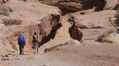hidrasyon : A family hiking in the Little Wild Horse Slot Canyon in the desert of Southern Utah near Goblin Valley State Park Stok Video