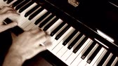 escala : A man plays jazz on the black piano in his house