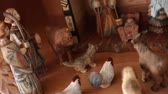 russo : A beautiful russian hand carved Nativity Creche set out in the home for the holidays dolly shot Stock Footage