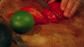 bell pepper ring : slicing vegetables of a dinner salad Stock Footage