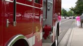 regra : A fire engine parked on the outskirts of the Freedom Festival in Provo Utah Stock Footage