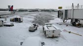 cancelar : a snow covered airport after a winter storm