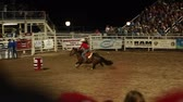 beczka : cowgirl barrel racing in slow motion at a prca professional rodeo Wideo