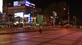 уличный свет : people walking in downtown beijing china at night Стоковые видеозаписи