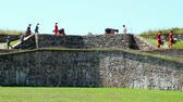 роль : The French Fort and 18th Century Colonial Town at Louisbourg Nova Scotia Canadian National Park. Стоковые видеозаписи