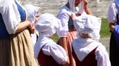 роль : People dressed in 18th century clothing at the Fortress of Louisbourg Стоковые видеозаписи