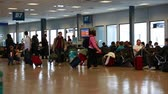 saco : people inside an airport after a snowstorm Stock Footage