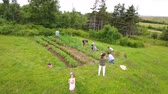 jedzenie : Aerial shot of a family in vegetable garden