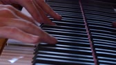 escala : Dolly shot fingers playing keys of a beautiful black grand piano