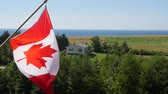 póly : Slow motion of canadian flag in the wind