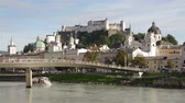 festa della musica : Panoramic view of the historic city of Salzburg with Fortress Hohensalzburg in the background as seen from river Salzach in Salzburg, Austria