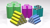 fornecimento : Colorful Battery Stacks (3D). Five common battery types in stacked groups and metallic colors rendered in high quality 3D with realistic lighting. D, C, AA, AAA and 9v.