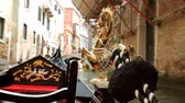 veneza : Gondola Ride Venice Part Two (HD). Gondola ride in Venice Italy with focus close up on the golden horse. All background is blurred out with fast lens. Stock Footage