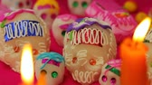 koponya : Mexican Dead Day Offering (HD). Day of the dead sugar skulls still shot, Dia de los Muertos, November second.