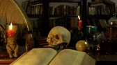 czary : Wizards Study Desk (HD). Wizards study setup desk with a skull, candles, crystal ball, books, chalice, and other occult paraphernalia. Skull is resin replica not real.