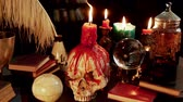 koponya : Human Skull Candle Studio (HD). Occult study setup desk with a skull chandelier