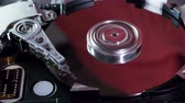 střední : Hard Disk Drive (HD). Red environment shows an opened single platter Hard Disk Drive showing read head motion Dostupné videozáznamy