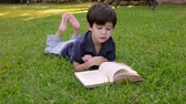 игривый : Kid Reading Book (HD) Four year old boy of Hispanic origin flipping the pages of a book lying on a grassy patch.
