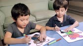 игривый : Young Boys Coloring Drawings (HD). 2 brothers of Hispanic origin; coloring a bear drawing.  Drawings all released.